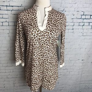 Bamboo Traders Animal Print M V-Neck Cotton Tunic